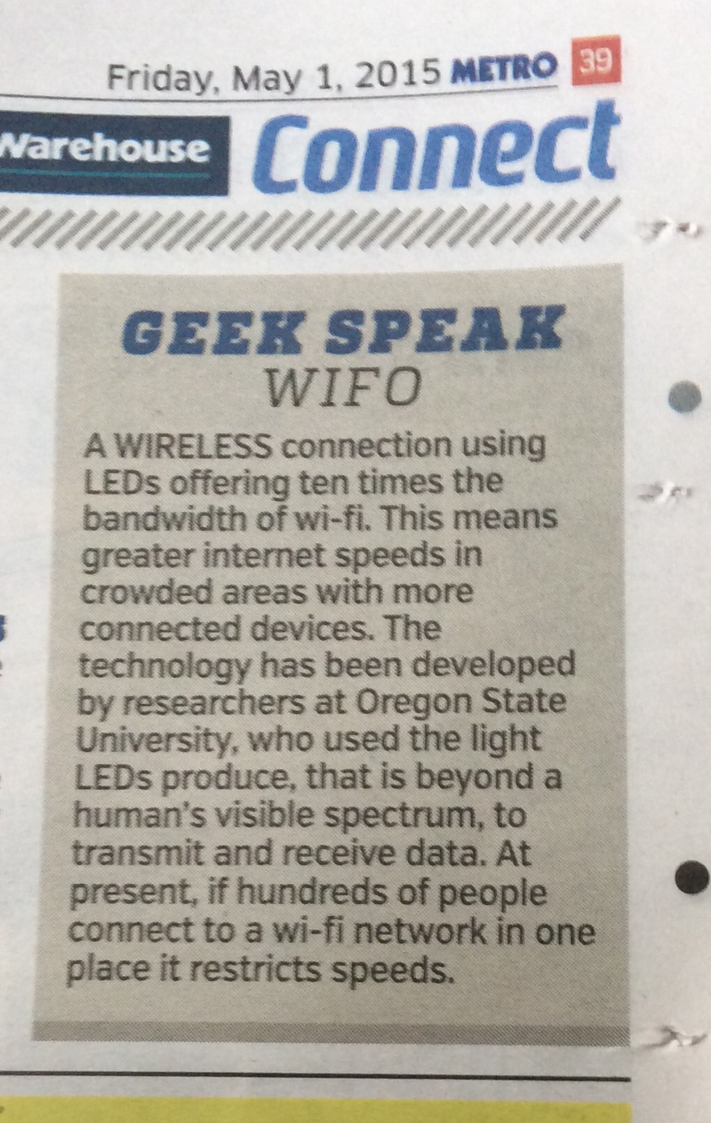 Metro article Geek Speak WiFo