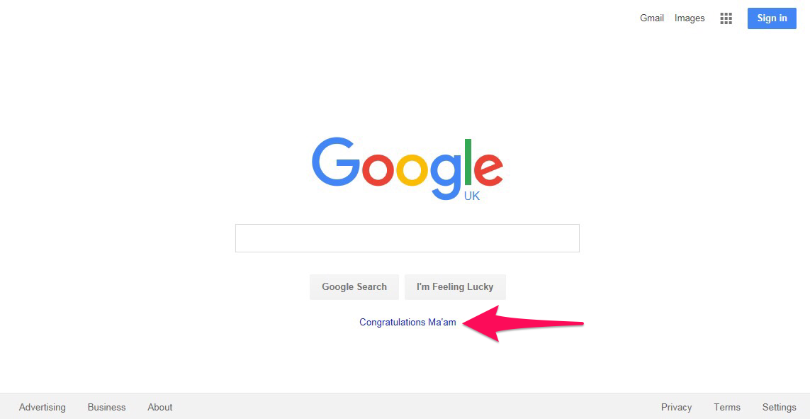Picture of Google home page saying Congratulations Maam