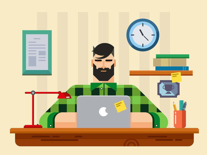 Vector picture of a bearded man sitting at a desk working on a computer